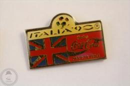 Italy 1990 FIFA World Cup - Flag Of England - Coca Cola Pin Badge #PLS - Coca-Cola