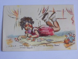 BOURET GERMAINE  ENFANT FILLETTE A DECOUPIE POUPEE JEUX DE CARTES ( 1 2 3 4 5 ...UNE LETTRE ....) J.D.A 681 QQ BRILLANTS - Bouret, Germaine
