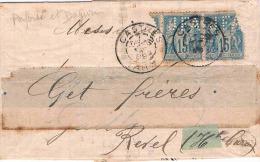 FRANCE MARCOPHILIE  Lettre Avec 2 N° 90obl Perforé - 1877-1920: Période Semi Moderne