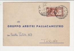 A2769 - Cartolina Post. GRUPPO ARBITRI PALLACANESTRO - GARA CAMPIONATO DOPPIERI NOVARA-FULL COMO  VG Biella 19-12-1952 - Sport