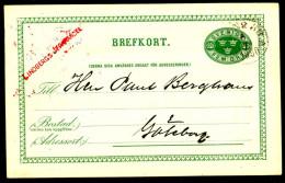 Entier Postal Suédois - Swedish Postcard - Circulé - Circulated - 1890. - Postal Stationery