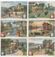 """LIEBIG 6 CHROMOS """"VILLAS ANCIENNES ET MODERNES"""" France, Italie, Grèce, Suède, Allemagne, Angleterre (Royaume-Uni). - Liebig"""