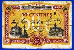 BON BILLET MONNAIE - CHAMBRE DE COMMERCE DE LIMOGES 50 CENTIMES HAUTE VIENNE 87000 DU 1er JANVIER 1923 SERIE H N° 58500 - Chambre De Commerce
