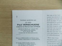 Doodsprentje Paul Verschuere Wervik 7/1/1913 - 31/1/1992 ( Claire Catteeuw ) - Religione & Esoterismo