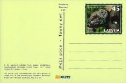 Latvia Lettland Lettonie 2011 Prepaid Postcard - Essen 2011 - Owl Eule Chouette - Flower Tulip (unaddressed) - Latvia