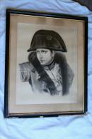 Tableau Au Fusainde 1885: Napoléon Pendant La Campagne De Russie - Militaria