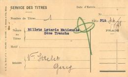 BILLET DE LOTERIE NATIONALE SERVICE DES TITRES CINQUIEME TRANCHE - Billets De Loterie