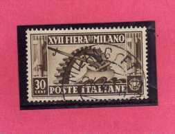 ITALIA REGNO ITALY KINGDOM 1936 XVII FIERA DI MILANO 17 17TH FAIR MILAN CENT. 30 USATO USED - 1900-44 Victor Emmanuel III