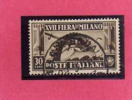 ITALIA REGNO ITALY KINGDOM 1936 XVII FIERA DI MILANO 17 17TH FAIR MILAN CENT. 30 USATO USED - Usati