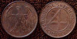 (J) GERMAN WEIMAR REPUBLIC: 4 Reichspfennig 1932D XF+ (2214) - [ 3] 1918-1933 : Republique De Weimar