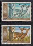 Rwanda MH Scott #444 20c Antelopes And Cercopithecus - Missing Colour - Yellow/brown - Rwanda