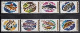 Rwanda MNH Scott #541-#548 Set Of 8 African Fish - 1fr Has Gum Bends - 1970-79: Neufs