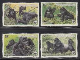 Rwanda MNH Scott #1208-#1211 Set Of 4 Gorilla Gorilla Beringei - WWF - 30fr Has Gum Disturbed - Rwanda