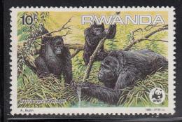 Rwanda MNH Scott #1208 10fr Gorilla Gorilla Beringei - WWF - Album Adherence - Rwanda