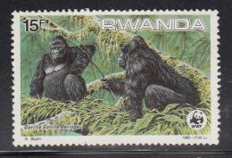 Rwanda MNH Scott #1209 15fr Gorilla Gorilla Beringei - WWF - Rwanda