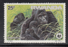 Rwanda MNH Scott #1210 25fr Gorilla Gorilla Beringei - WWF - Pulled Perf - Rwanda
