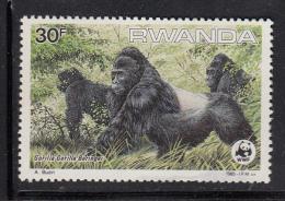 Rwanda MNH Scott #1211 30fr Gorilla Gorilla Beringei - WWF - Thinned - Rwanda