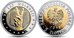"Polonia/Poland 5 Zlotes 2.014 2014 Bimetálica ""25 Años De Libertad"" SC/UNC T-DL-10.932 - Polonia"