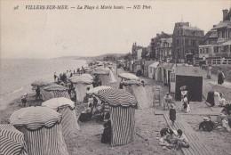 14 VILLERS Sur MER  PLAGE Animée  à Marée Haute  Tentes Et CABINES De Bains Timbre 1910 - Villers Sur Mer