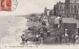 14 VILLERS Sur MER  JEUX D' ENFANTS Sur La  PLAGE Chantier Des Chateaux De Sable  Timbre 1914 - Villers Sur Mer