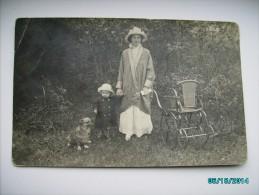 LADY WITH CHILD , DOG , PRAM PUSHCART , NÜRNBERG, OLD RPPC, O - Children And Family Groups