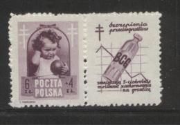 POLAND 1948 ANTI TUBERCULOSIS TB CAMPAIGN 6+4ZL BROWN-VIOLET NHM LABEL DESIGN 7  HEALTH DISEASE - Unused Stamps