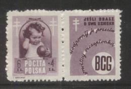 POLAND 1948 ANTI TUBERCULOSIS TB CAMPAIGN 6+4ZL BROWN-VIOLET NHM LABEL DESIGN 4  HEALTH DISEASE - Unused Stamps