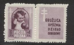 POLAND 1948 ANTI TUBERCULOSIS TB CAMPAIGN 6+4ZL BROWN-VIOLET NHM LABEL DESIGN 5  HEALTH DISEASE - Unused Stamps