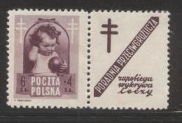 POLAND 1948 ANTI TUBERCULOSIS TB CAMPAIGN 6+4ZL BROWN-VIOLET NHM LABEL DESIGN 9  HEALTH DISEASE - Unused Stamps