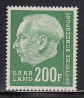 Saar MH Scott #307 200fr Pres. Theodor Heuss - 1957-59 Fédération