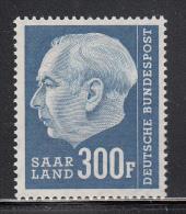 Saar MH Scott #308 300fr Pres. Theodor Heuss - 1957-59 Fédération