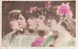 CPA Colorisée 5 ARTISTES De Profil - écrite 1908 - 2 Scans - Artistes