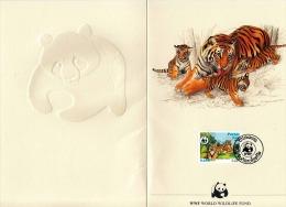 LAO 1984 - 0,25C Tiger Sondermarke Mit Sonderstempel WWF Mit Färbiger Künstlerzeichnung Tiger Mit Babys, Kartonmappe ... - Laos