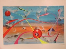 X CHIESA RENATO NATALE SERIGRAFIA Ritoccata A Mano Flussi Sfera Rossa 100X70 Firma Certificato Arte Moderna Contemporane - Stampe