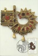 Germany Berlin 1987 Gold And Silver Ornments, 50pf Bonnet Ornament, Maximum Card - Maximum Cards