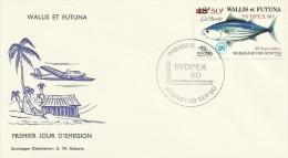 Wallis And Futuna 1980 Sydpex 80 FDC - Fishes