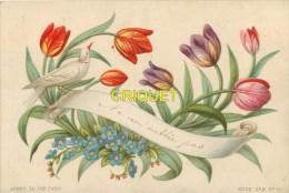 Ancienne Chromo , Colombe Et Tulipes, Myosotis, Dédicacée Verso 31 Décembre 1877, Imp. Aubry - Cromo