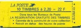 """LIBERTE 2,20 F Rouge - Carnet YT 2376 C11a -   SANS """" S """"  à  DEHORS - Carnets"""