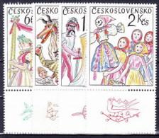 ** Tchécoslovaquie 1975 Mi 2248-51 Zf (Yv 2091-4) Avec Vignette, (MNH) - Czechoslovakia