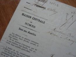 PRISON (1867) - Maison CENTRALE De Nîmes - Lettre De Détenu : Jean Antoine SALLET - Autographs