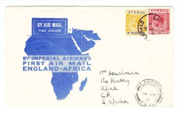 Flugpost Brief Von Zypern Nach London Mit Erstflug England-Afrika Nach Daressalam AK Und Transit Stempel - Cyprus (Republic)
