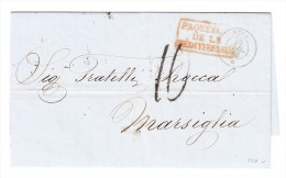 "Schiffs-Stempel  ""NEVA 25.Jul.1860"" Constantinople-Marseillle ""Paquebot De La Meditérrannée"" - Turkey"