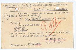 GERMANY - CHEMNITZ - C. G. HAUBOLD - ADVERTISING POSTCARD 1928 - PERFIN STAMP - Germany