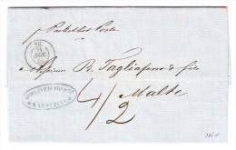 "Schiffs-Stempel  ""NIL 24.Nov.1852"" Auf Vorphila Brief Marseille - Malta - Posta Marittima"