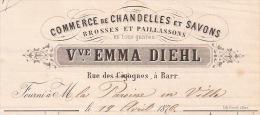 F9 - BARR 1876 - VEUVE EMMA DIEHL - CHANDELLES - SAVONS - BROSSES - PAILLASSONS - ALSACE - BAS RHIN - 67 - - France
