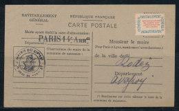 N°15A Ravitaillement Sur Carte Questionnaire De Paris 14è Pour Rodez (Aveyron) - Lettres & Documents