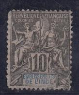 Groupe Colonies Légende Etab. De L'Inde  10c Noir  N°5 - Inde (1892-1954)