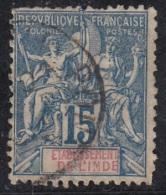 Groupe Colonies Légende Etab. De L'Inde  15c Bleu  N°6 - Inde (1892-1954)