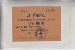 NOTGELD - MÜHLHAUSEN / Thüringen, 3 Mark, 1914, Erhaltung I - [11] Emissioni Locali