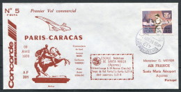 1976 Portugal Air France Concorde 5 First Flight Cover Paris - Caracas - Concorde